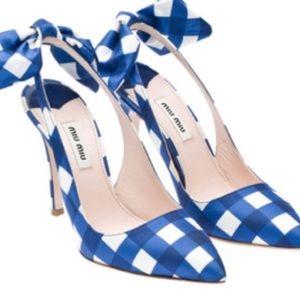 Shoes - Miu Miu gingham taffeta slingback24HRSALEPRICEFIRM